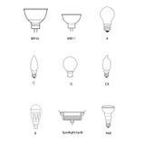 Blueprint, aspiration technique de prise différente d'ampoule Images libres de droits