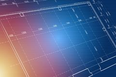 Blueprint background. In 3D view Royalty Free Stock Image