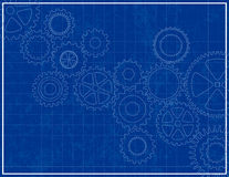Blueprint Background with cogs Stock Photography