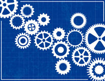 Blueprint Background with cogs. Blueprint Background with white cogs Stock Image