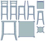 Blueprint Bar furniture Royalty Free Stock Images