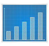 Blueprint bar graph Stock Images