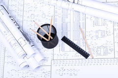 Blueprint, basket, ruler and penci Royalty Free Stock Photo