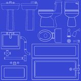 Blueprint bathroom fixtures Stock Photo