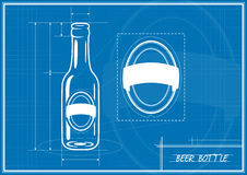 Blueprint Beer Bottle Stock Photo