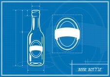 Blueprint Beer Bottle Stock Photo