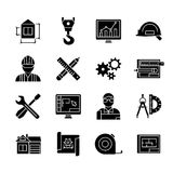 Blueprint Black White Flat Icons Set Stock Photography