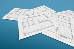 Blueprint on blue. High quality 3d render Stock Photography