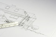 Blueprint of a building 02 Stock Photos
