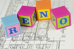 Blueprint with building blocks Royalty Free Stock Images
