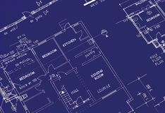 Blueprint of Building Plans. Showing dining room and kitchen royalty free stock photography