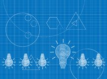 Blueprint of Innovation concept with light bulbs stock image