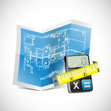 Blueprint, calculator and measuring tape Royalty Free Stock Images