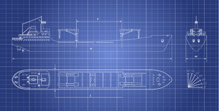 Blueprint of cargo ship on a white background. Top, side and front view. Container transport Stock Image