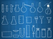 Blueprint of chemical laboratory equipment Royalty Free Stock Photography