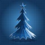 Blueprint of  Christmas tree polygonal. Christmas polygonal back Stock Image