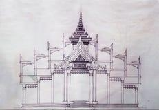 Blueprint church of temple Royalty Free Stock Photo