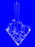 Blueprint City. 3d rendering of a city, in sketch style, blueprint-linke Royalty Free Stock Images