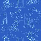 Blueprint city seamless pattern Stock Images