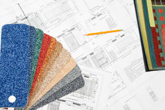 Blueprint and colorful samples Stock Photo