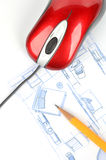 Blueprint and computer mouse Royalty Free Stock Photos