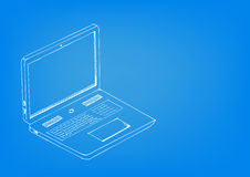 Blueprint concept artwork of Laptop computer. Blueprint concept artwork with Laptop computer. Editable EPS10 vector stock illustration