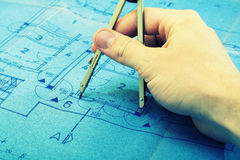 Blueprint concept planning Stock Photo