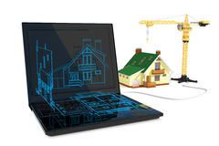 Blueprint and construction Stock Photo