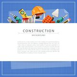Blueprint Construction Background with Copy Space Royalty Free Stock Photography