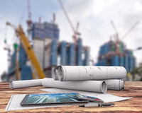 Blueprint in the construction site Royalty Free Stock Image