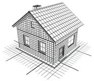 Blueprint Cottage White Royalty Free Stock Photography