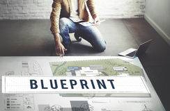 Blueprint Craft Architecture Design Ideas Construct Concept.  Royalty Free Stock Photos