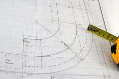 Blueprint with curved design detail Stock Images