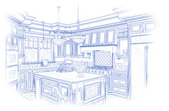 Blueprint Custom Kitchen Design Drawing on White Stock Photography