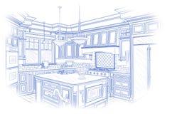 Blueprint Custom Kitchen Design Drawing on White royalty free illustration