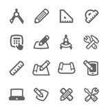 Blueprint and design icons Stock Image