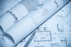 Blueprint. Design plans, kitchen and bathroom remodeling stock image