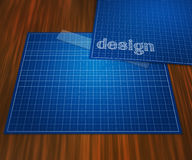 Blueprint Design on Table Background Royalty Free Stock Images