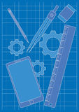Blueprint and Design Tools Royalty Free Stock Photo