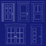 Blueprint door illustrations Stock Image