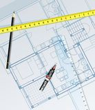 Blueprint draw. Vector realistic blueprint of the house with pencil Royalty Free Stock Photo