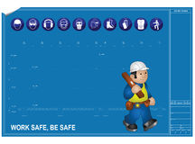 Blueprint drawing. Construction health and Safety against blueprint drawing Royalty Free Stock Photography