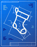 Blueprint drawing of christmas stocking Royalty Free Stock Photo