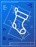 Blueprint drawing of christmas stocking Royalty Free Stock Photo