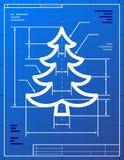 Blueprint drawing of christmas tree Stock Photos
