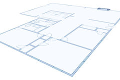 Blueprint Drawing of a Simple Residential Home Royalty Free Stock Photography