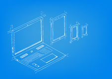 Blueprint drawing style concept artwork of Laptop, Tablet, mobile phones Editable EPS10 vector. Stock Photo