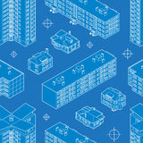 Blueprint dwelling buildings seamless pattern Stock Images