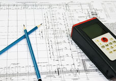 Blueprint and engineering instrument. And pensil Stock Photos