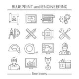 Blueprint And Engineering Linear Icons Set. With gears computer programs crane tools drafts schemes  vector illustration Royalty Free Stock Photo